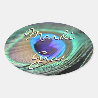 Mardi Gras Peacock Feather Custom Oval Stickers