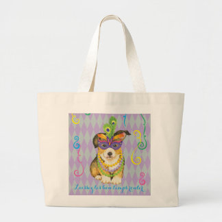 Mardi Gras Pembroke Welsh Corgi Large Tote Bag