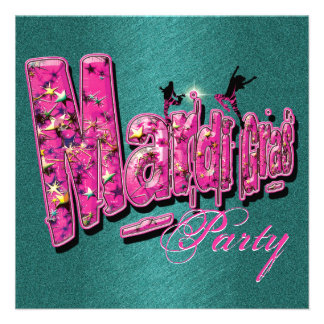 Mardi Gras pink teal party invitations