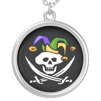 Mardi Gras Pirate Round Pendant Necklace