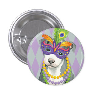 Mardi Gras Pit Bull Terrier Button