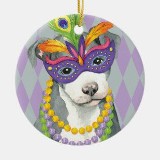 Mardi Gras Pit Bull Terrier Ceramic Ornament