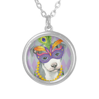 Mardi Gras Pit Bull Terrier Silver Plated Necklace