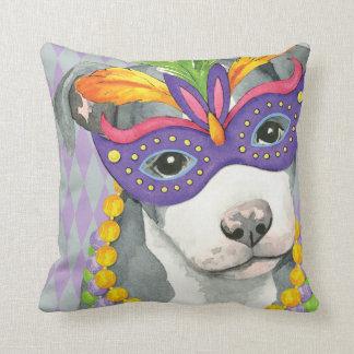 Mardi Gras Pit Bull Terrier Throw Pillow