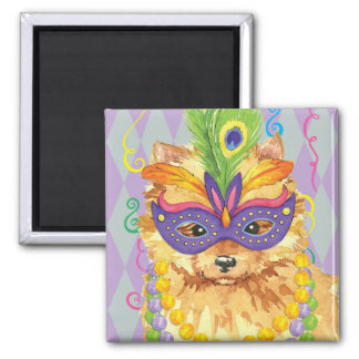 Mardi Gras Pomeranian 2 Inch Square Magnet