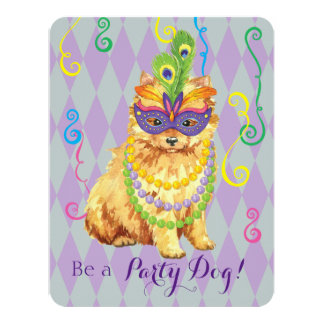Mardi Gras Pomeranian Card