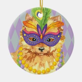 Mardi Gras Pomeranian Ceramic Ornament