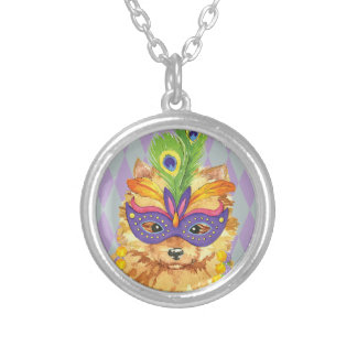 Mardi Gras Pomeranian Silver Plated Necklace