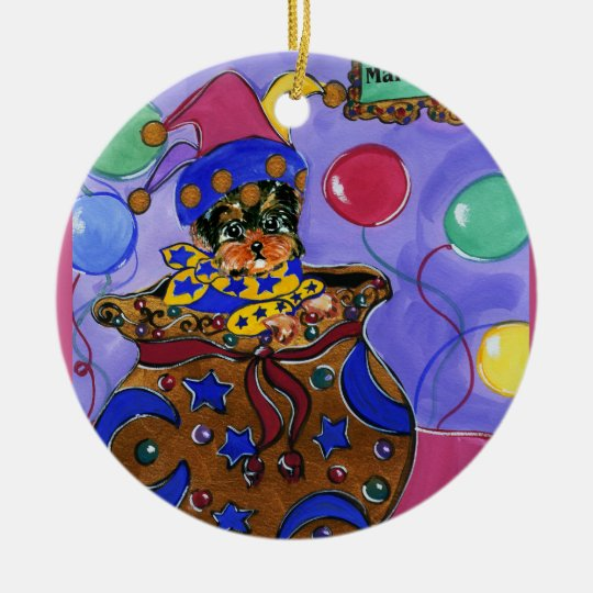 Mardi Gras Poo Ceramic Ornament