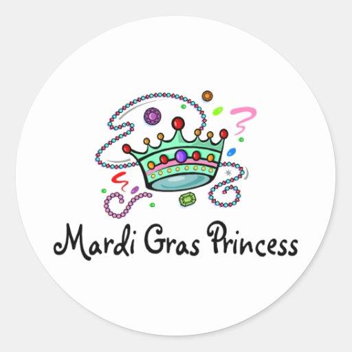 Mardi Gras Princess Classic Round Sticker