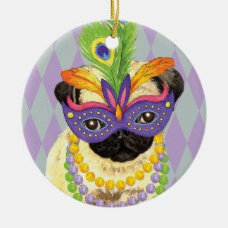 Mardi Gras Pug Ceramic Ornament