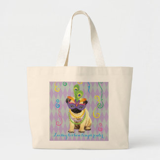 Mardi Gras Pug Large Tote Bag