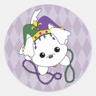Mardi Gras Puppy Classic Round Sticker