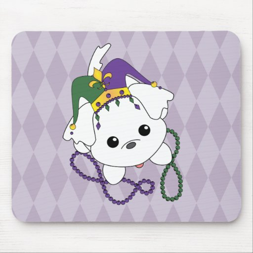 Mardi Gras Puppy Mouse Pad