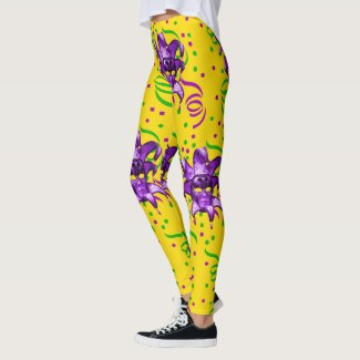 Mardi Gras Purple Mask And Confetti Leggings