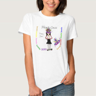Mardi Gras Purple Mask Girl Colorful Beads Party T-Shirt