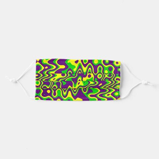 [Mardi Gras] Purple Yellow Green Modern Op-Art Adult Cloth Face Mask