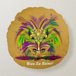 Mardi Gras Queen 1 Read About Design Below Round Pillow