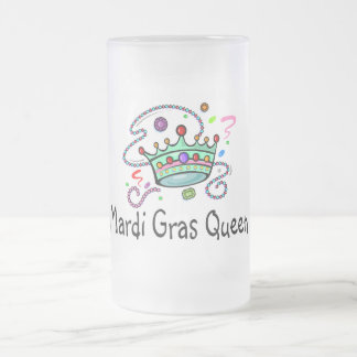 Mardi Gras Queen Frosted Glass Beer Mug