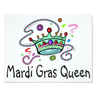 """Mardi Gras Queen 4.25"""" X 5.5"""" Invitation Card"""