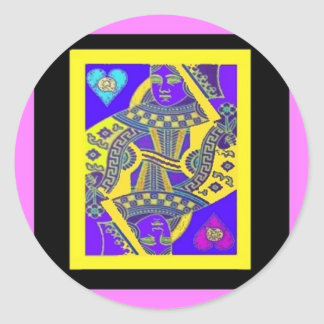 MARDI GRAS QUEEN OF HEARTS Gift by Sharles Round Sticker
