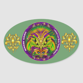 Mardi Gras Queen Style 2 View Notes Plse Oval Sticker