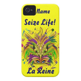 Mardi Gras Queen Style 3 View Notes Plse iPhone 4 Case-Mate Case
