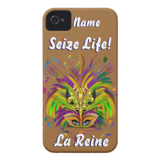 Mardi Gras Queen Style 3 View Notes Plse iPhone 4 Case-Mate Cases