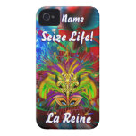 Mardi Gras Queen Style 3 View Notes Plse Case-Mate iPhone 4 Case