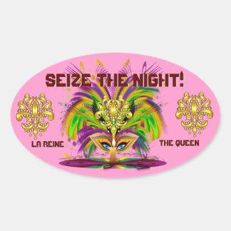Mardi Gras Queen View Notes Please Oval Sticker