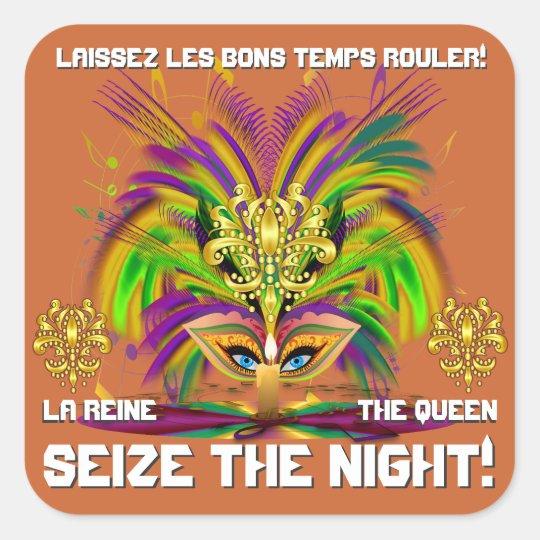 Mardi Gras Queen View Notes Please Square Sticker