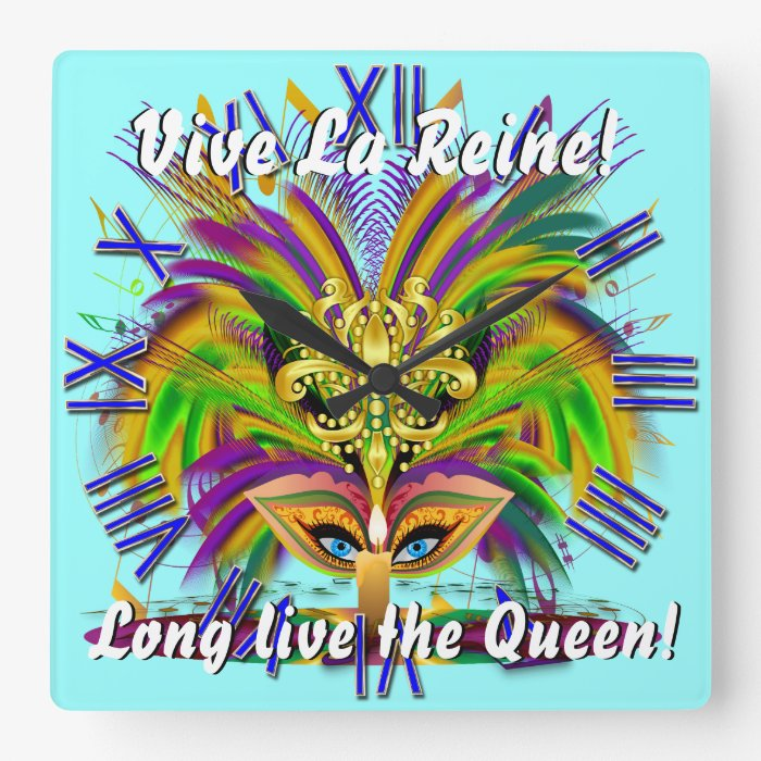Mardi Gras Queen View Notes Please Square Wall Clock