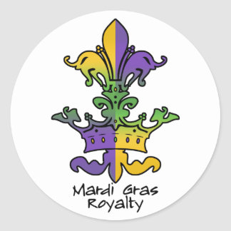Mardi Gras Royalty Classic Round Sticker