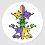 Mardi Gras Royalty Round Stickers
