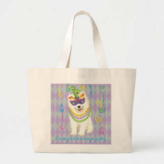 Mardi Gras Samoyed Large Tote Bag