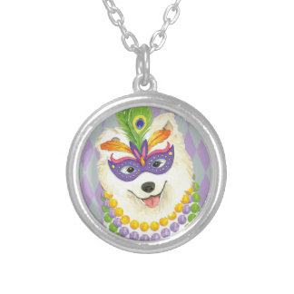 Mardi Gras Samoyed Silver Plated Necklace
