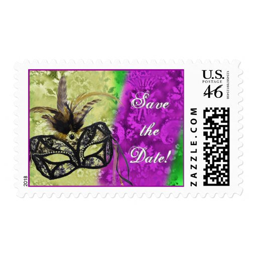 mardi gras save the date with mask and feathers postage zazzle. Black Bedroom Furniture Sets. Home Design Ideas