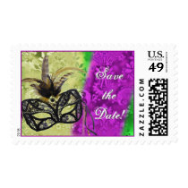 Mardi gras Save the Date with mask and feathers Stamp