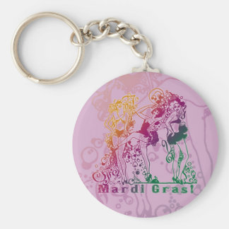 Mardi Gras Showgirls Basic Round Button Keychain