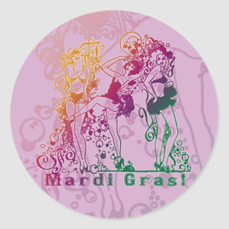 Mardi Gras Showgirls Classic Round Sticker