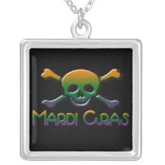 Mardi Gras Skull  & Crossbones Square Pendant Necklace