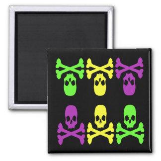 Mardi Gras Skulls 2 Inch Square Magnet