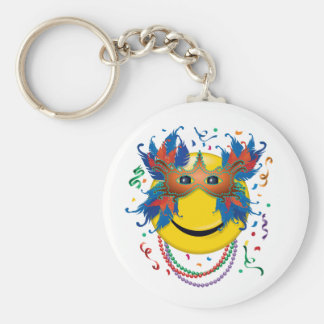 Mardi Gras Smiley Face Keychain