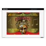 """Mardi Gras Smiling Mask Metallic Music Notes 15"""" Laptop Decal"""