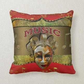 Mardi Gras Smiling Mask Metallic Music Notes Throw Pillow
