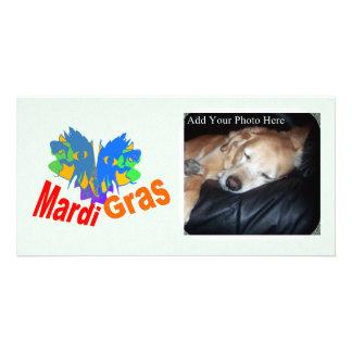 Mardi Gras Split Mask Personalized Photo Card