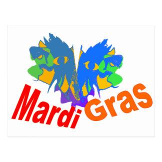 Mardi Gras Split Mask Post Card