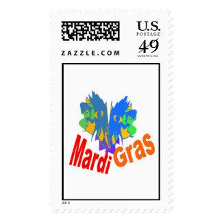 Mardi Gras Split Mask Postage Stamp