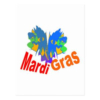 Mardi Gras Split Mask Postcards