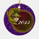 Mardi Gras - SRF Double-Sided Ceramic Round Christmas Ornament